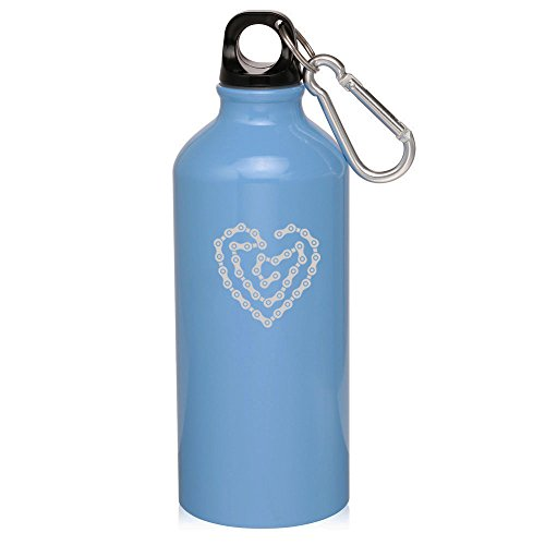 Light Blue Heart Love Bike Chain 20Oz Aluminum Sports Water Bottle Canteen Clip Heart Love Bike Chain by Sport bottle