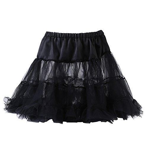 UTOVME Womens 4-Layered Petticoat Underskirt Tulle Tutu Skirt Ballet Bubble Skirt, for Dance Party Stage Costume Show Cosplay, Black ()