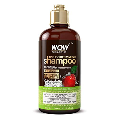 WOW Apple Cider Vinegar Shampoo - Reduce Dandruff, Frizz, Split Ends- DHT Blockers For Hair Loss - Clean Scalp & Boost Gloss, Shine - Paraben, Sulfate Free - All Hair Types, Adults & Children - 500 mL