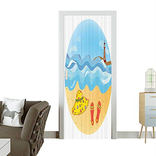 Door Sticker Minimal Doodle Lighthouse ACH Sea Waves Sand Hat Slippers Clouds Removable Door Decal for Home DecorW31 x H79 INCH ()