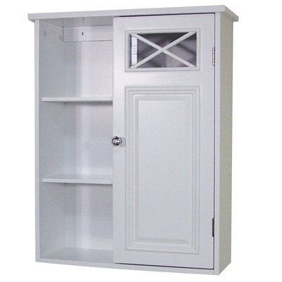 Traditional Style Wall Mounted Cabinet for Bathroom with Single Door and 4 Shelves 25'' H x 20'' W x 7'' D in. -White - Clear diamond cut door knob. Design with simple lines and crisscross accent. Primary Material: Manufactured wood Dimensions: 25'' H x 20'' W x 7'' D - shelves-cabinets, bathroom-fixtures-hardware, bathroom - 4145hyejm9L. SS400  -
