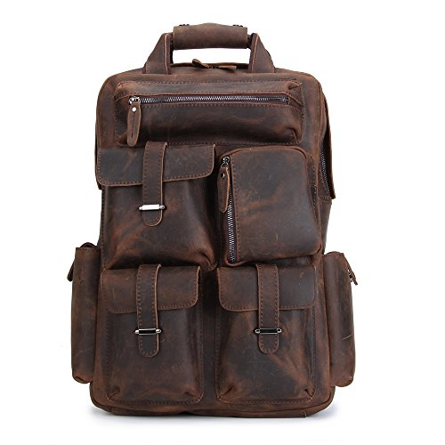 CHAO.P.J Men's Multi Pockets Travel bag Vintage Genuine Leather Hiking Backpack by CHAO.P.J