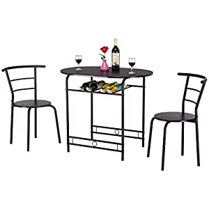 Giantex 3 PCS Dining Table Set w/1 Table and 2 Chairs Home Restaurant Breakfast Bistro Pub Kitchen Dining Room Furniture