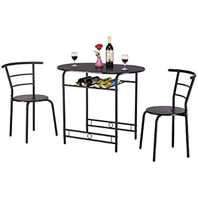 T 3 PCS Dining Table and 2 Chairs Kitchen Breakfast Pub Furniture (Black) -  - kitchen-dining-room-furniture, kitchen-dining-room, dining-sets - 4145i7%2BA0OL. SS400  -
