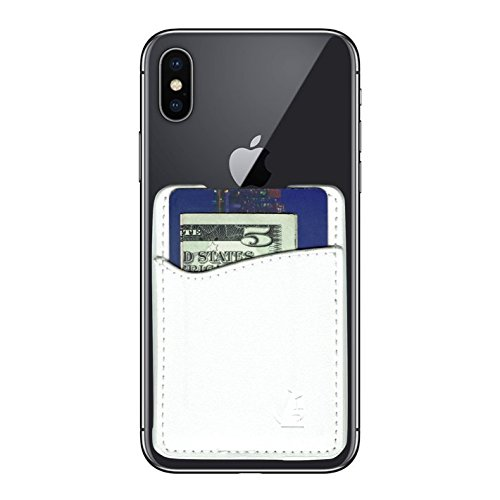 Leather Phone Card Holder Stick On Wallet for iPhone and Android Smartphones (White Leather) by Wallaroo