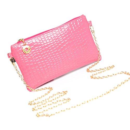 Bovake Frauen Leder Messenger Crossbody Kupplung Schulter Handtasche Tasche Hot Pink XPCLZ4N2