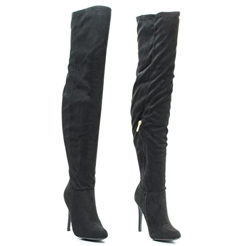 Over The Knee Pointy Toe Stiletto Heel Dress Boots #Dominant01mblacksuede SaL6Y