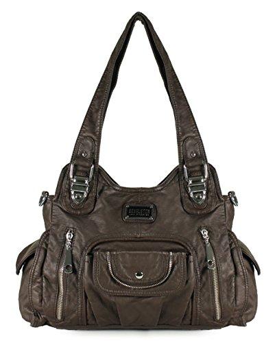 Flap Pocket Hobo Bag - Scarleton Satchel Handbag for Women, Ultra Soft Washed Vegan Leather Crossbody Bag, Shoulder Bag, Tote Purse, Coffee, H163521