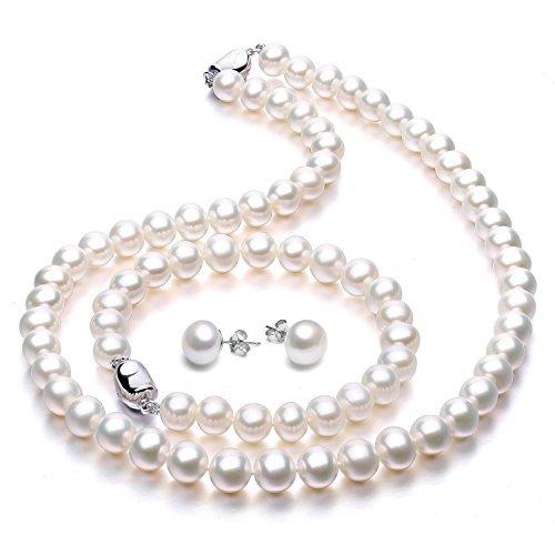VIKI LYNN Damen Schmuck Set Perlen Schmuck Set Hochzeitstag Süßwasserzuchtperlen Schmuck Set Perlenkette Perlen Armband und Ohrstecker mit Süßwasserzuchtperlen