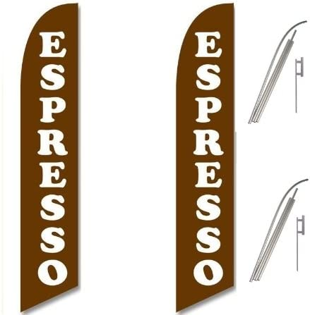 Two Full Sleeve Swooper Flags w// Poles /& Spikes ESPRESSO Brown with Big White Text