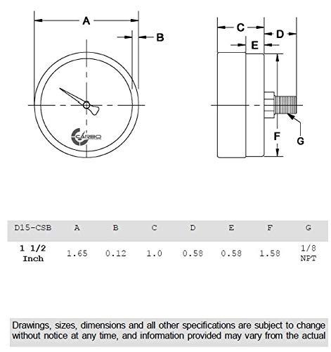 CARBO Instruments 1-1//2 Pressure Gauge Back Mount 1//8 NPT Vacuum -30 Hg//0 Chrome Plated Steel Case Dry