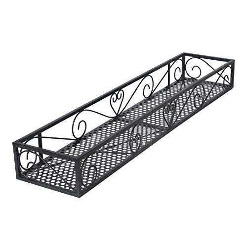 Funmall Hanging Balcony Railing Shelf Flower Pot Holder Metal Plant Stand