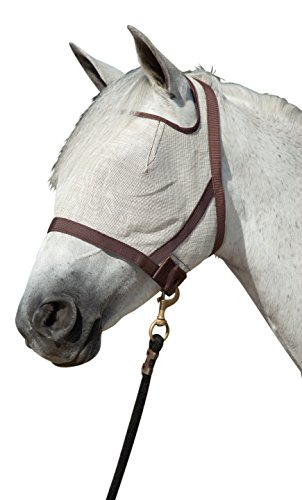 Kensington Natural Look CatchMask Horse Fly Mask - Innovative Combination Fly Mask and Catch Halter with Double Locking Lead Rope Fastener - 2 Sizes (Grey/Tan, Large)