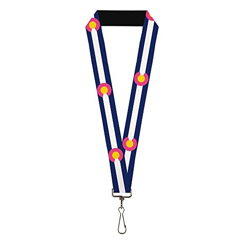 Buckle-Down Men's Lanyard, colorado flags repeat blue/white/pink/yellow Standard by Buckle Down (Image #1)