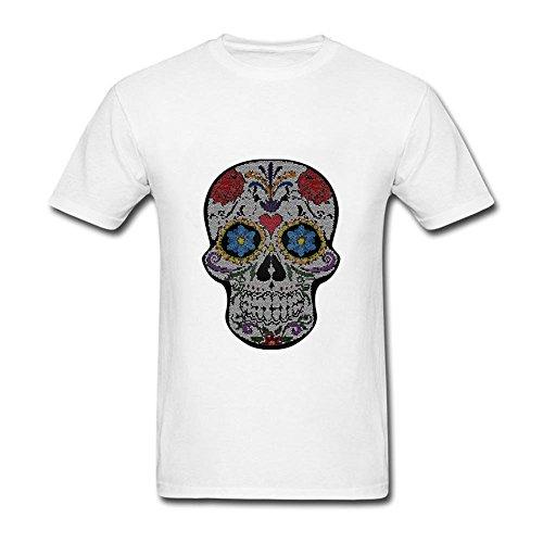 BROER Flower Skull Men Short Sleeve Organic Cotton T Shirts White M ()
