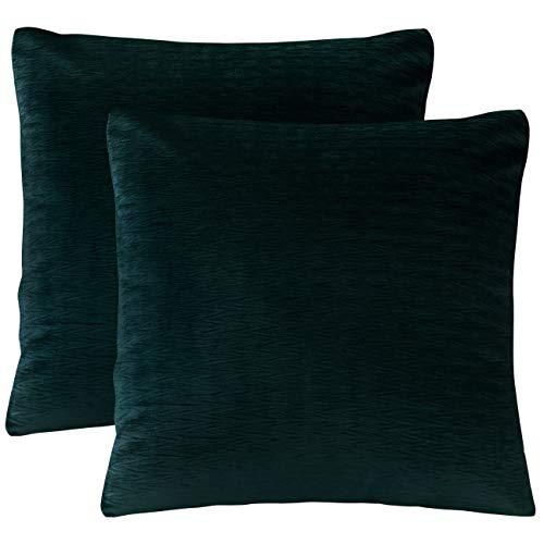 Euro Sham Green - PHF Velvet Wrinkled Euro Sham Cover Pack of 2 Throw Pillow Cover Home Decor 26