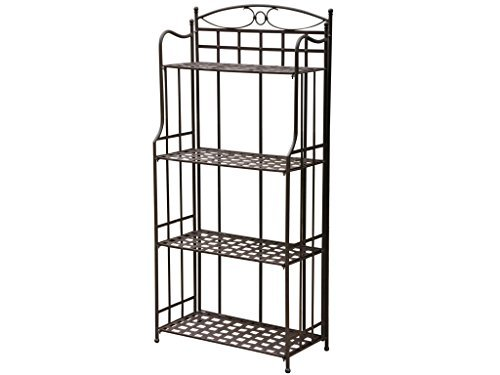 International Caravan Iron Outdoor/Indoor Folding Bakers - Bronze Rack Kitchen Bakers