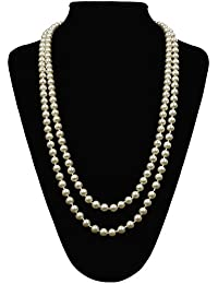 Great Gatsby Faux Pearls Flapper Beads Cluster Long 1920s Necklace 59''