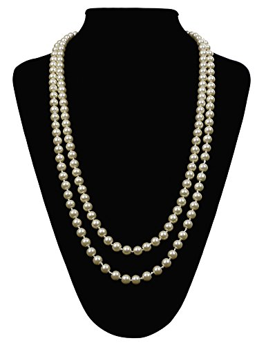 Faux Pearl Necklace Bracelet (Flapper Girl Great Gatsby Faux Pearls Flapper Beads Cluster Long 1920s Necklace 59'' (Pearl White))