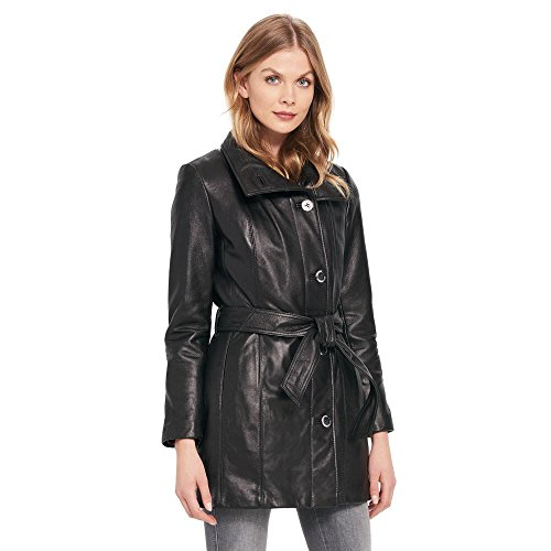Wilsons Leather Womens Wingcollar Belted Lamb Hipster Jacket S Black