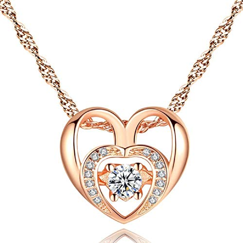 Hollywood Sensation Gold & Crystal Double Heart Necklace (Rose Gold) ()