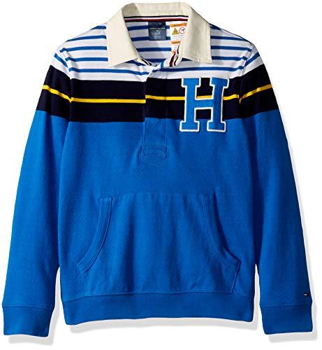 Tommy Hilfiger Boys' Adaptive Rugby Shirt with Magnetic Buttons, turkish Sea LG