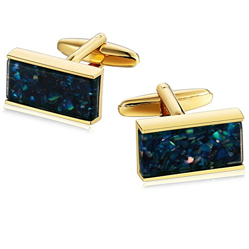 Mens Cufflinks Stainless Steel Rectangle Inlaid Debris Blue 2X1CM Dad Unique Jewelry Box Fancy Elegant Aooaz 1 Dad Cufflinks