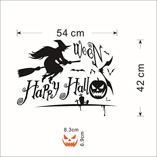 OTTATAT Wall Stickers For Kitchen 2019,Happy Halloween Pumpkin Witch Sticker Window Home Decoration Decal Decor Easy to Stick Wedding anniversary Couple suite Gift for girlfriends post Discount]()