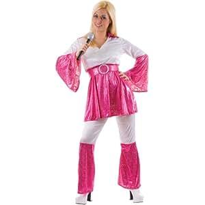 Mamma Mia 70s Abba Ladies Fancy Dress Costume Pink M (disfraz)