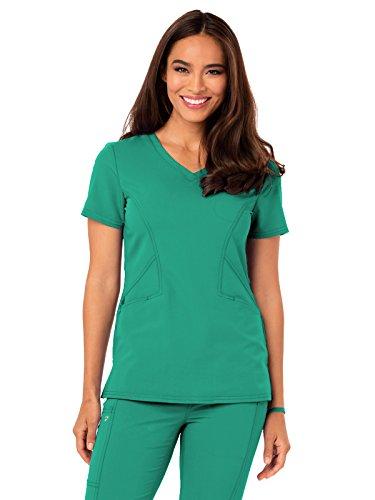 Top Emerald Green (Careisma by Sofia Vergara Women's Sofia V-Neck Solid Scrub Top Medium Emerald Green)