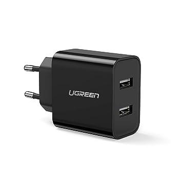 UGREEN Cargador USB de Red con Doble USB 5V 3.1A Cargador Rápido Móvil 5v 2.4A para iPhone, Samsung, Xiaomi, Huawei, HTC, Google, LG, Gopro, iPad, ...