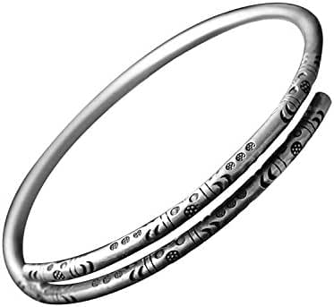 BC Sterling Silver High Polish Totem Dream Flower Adjustable Cuff Bangle Bracelet Chinese style