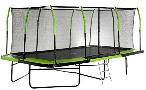 Upper Bounce Mega Outdoor Trampoline with Fiber Flex Enclosure System, 10 X 17 Big Trampoline for kids Rectangular adult trampoline Safe Fun Great Exercise Trampoline Bonus 42 Step Ladder