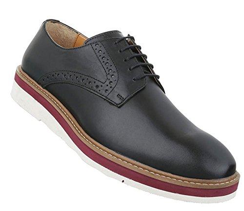 Herren Schuhe Halbschuhe Leder Schnürer Modell Nr1 Schwarz