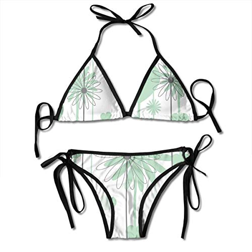 (Women's Bikini Set,Floral Abstract Striped Background Soft Color Daisies Nature Flourish,Two Pieces Swimsuit)