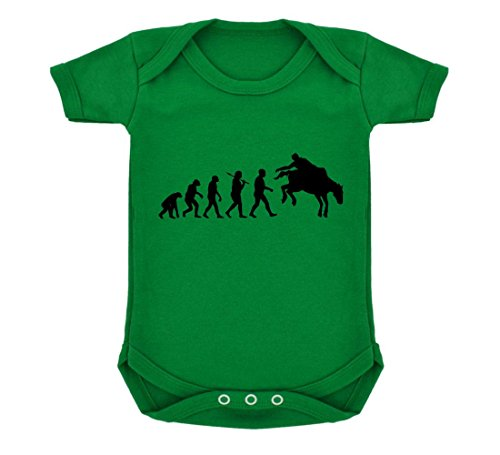 Evolution of Rodeo Baby Bodysuit Emerald Green with Black Print - Emerald Saddle