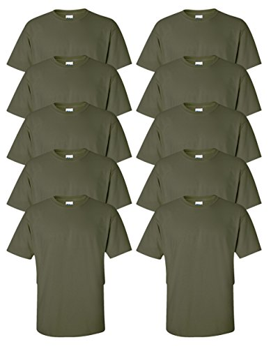 Gildan mens Ultra Cotton 6 oz. T-Shirt(G200)-MILITARY GREEN-L-10PK Adult Army Green T-shirt