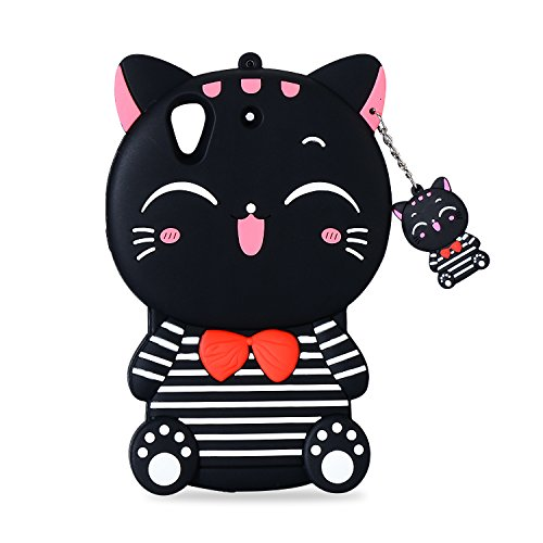 Mulafnxal Black Lucky Cat Case for HTC Desire 626 530,Soft Fun Kawaii 3D Cool Character Unique Girls Kids Silicone Rubber Shock Proof Protective Protector Cases Cover Skin For HTC 626 630