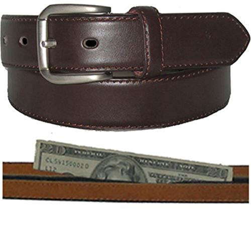 Men's Brown Leather Money Belt Sizes 32 Through 56 ()