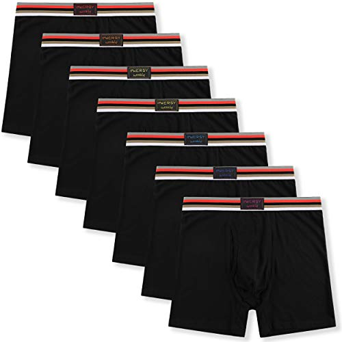 (Innersy Men's Cotton Boxer Briefs 7 Pack Rainbow Colorful Stretchy Cotton Underwear for a Week (X-Small, 7 Black with Fly))