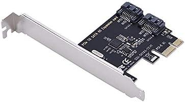 Vbestlife Adaptador PCIE a SATA 3.0 Tarjetas de Expansión PCI-E Express a PCI-E 2.0 con 2 Puertos SATA III Transmisión Rápida de Datos de 6 Gbps