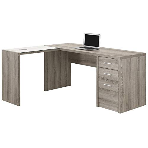 Monarch Specialties I 7138 Dark Taupe Corner with Tempered Glass Computer Desk, 60
