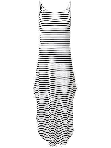 [Prime Sale JayJay Women Casual Maxi Stripe Print Spagetti Strap Pocket Long Dress,WHITE/BLACK,XL] (Black White Stripe Dress)