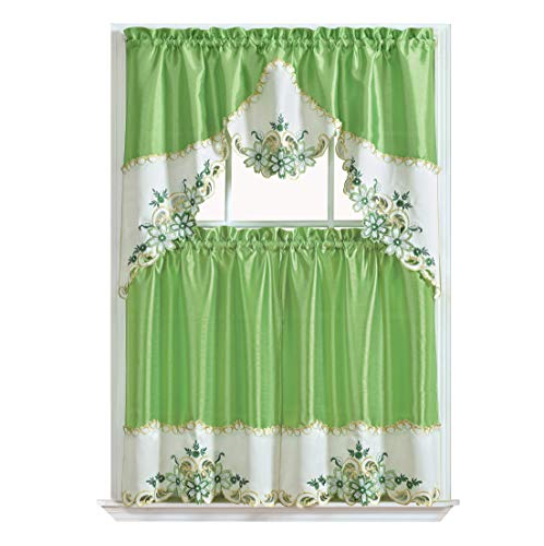 Green Kitchen Curtain - GOHD Golden Ocean Home Decor Arch Floral Kitchen Cafe Curtain Set. Window Treatment Set for Small Windows. Nice Matching Color Floral Embroidery on Border with cutworks (Greenery)