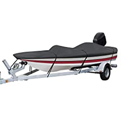 """Classic Accessories StormPro Heavy-Duty Boat Cover With Support Pole For Bass Boats, Fits 14' - 16' L x 90"""" W"""