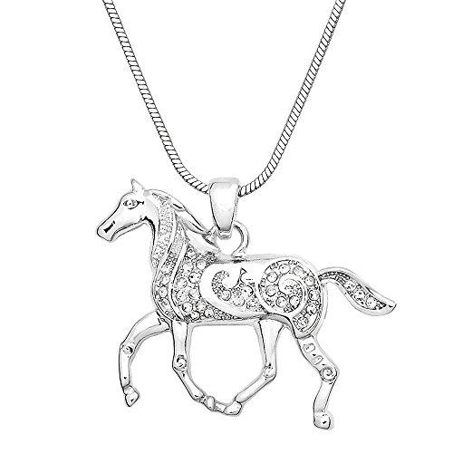 Horse Pendant Necklace Rhinestone Crystal High Polished Rhodium J1501