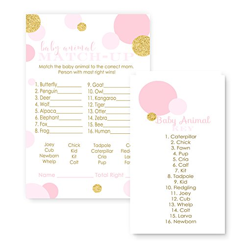 Pink and Gold Baby Shower Game Animal Match (25 Pack) by Paper Clever Party