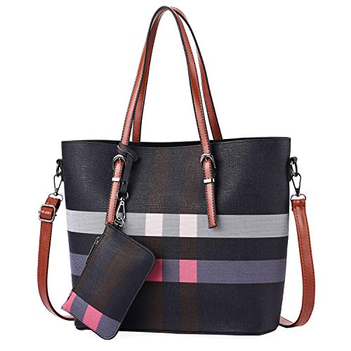 I IHAYNER Women Fashion Plaid Handbags Tote Bag Large Capacity Shoulder Bag Top Handle Satchel Purse (Brown) ()