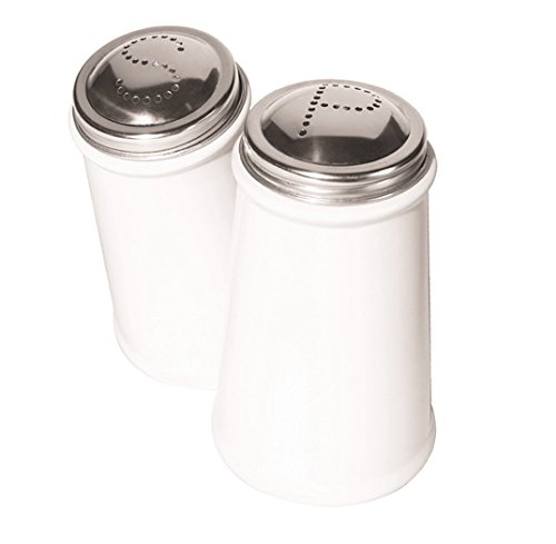 Oggi Salt and Pepper Shaker Set with Stainless Steel Tops, White - White Salt And Pepper Shakers