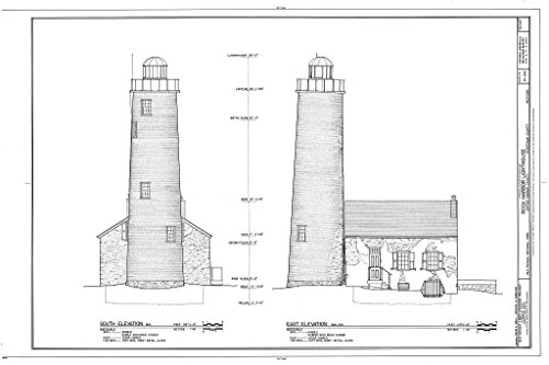 - Blueprint Diagram HABS MICH,42-COPHAR.V,2- (Sheet 5 of 7) - Rock Harbor Lighthouse, Copper Harbor, Keweenaw County, MI 12in x 08in